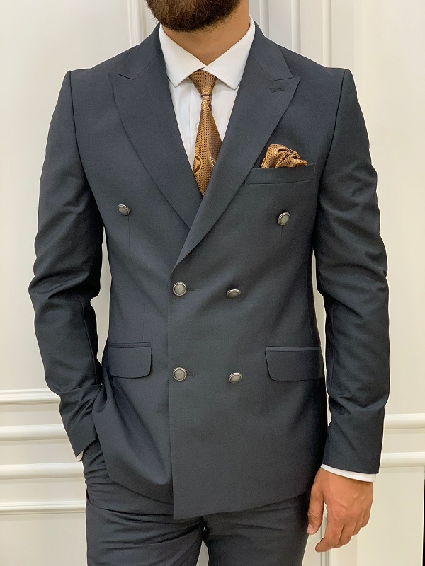 Gray Slim Fit Peak Lapel Double Breasted Suit for Men by GentWith.com with Free Worldwide Shipping