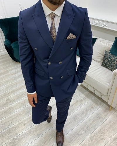 Navy Blue Slim Fit Peak Lapel Double Breasted Suit for Men by GentWith.com with Free Worldwide Shipping