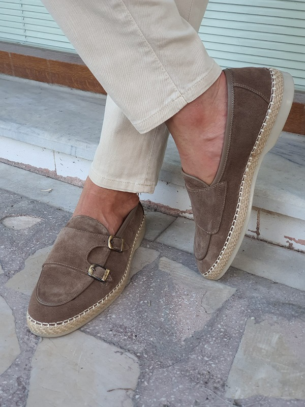 Beige Suede Double Monk Strap Loafers for Men by GentWith.com with Free Worldwide Shipping