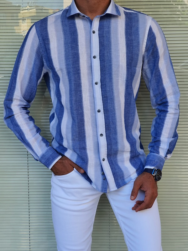 Blue Slim Fit Long Sleeve Striped Linen Shirt for Men by GentWith.com with Free Worldwide Shipping