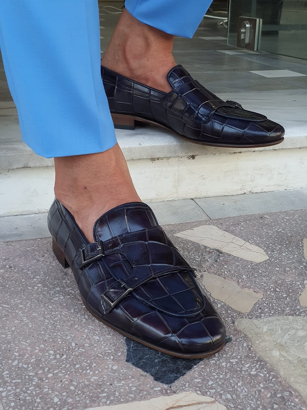 Navy Blue Double Monk Strap Loafers for Men by GentWith.com with Free Worldwide Shipping