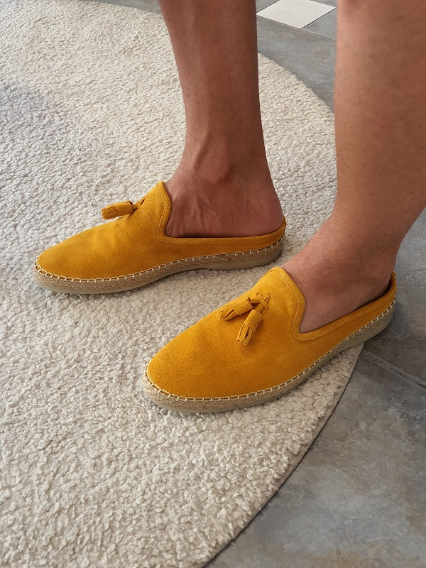 Yellow Suede Mules for Men by GentWith.com with Free Worldwide Shipping