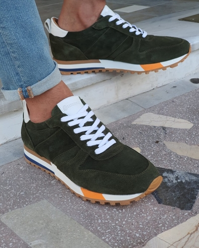 Green Mid-Top Suede Sneakers for Men by GentWith.com with Free Worldwide Shipping
