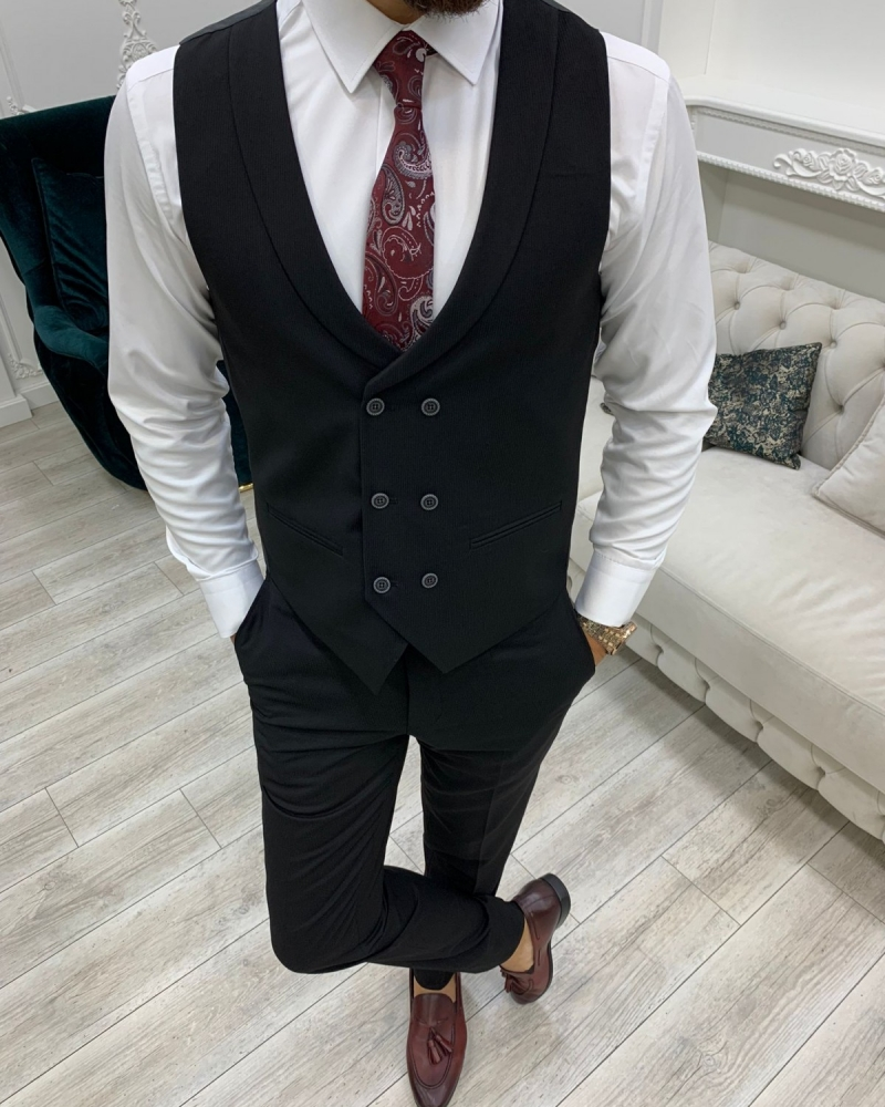 Black Slim Fit Peak Lapel Suit for Men by GentWith.com with Free Worldwide Shipping