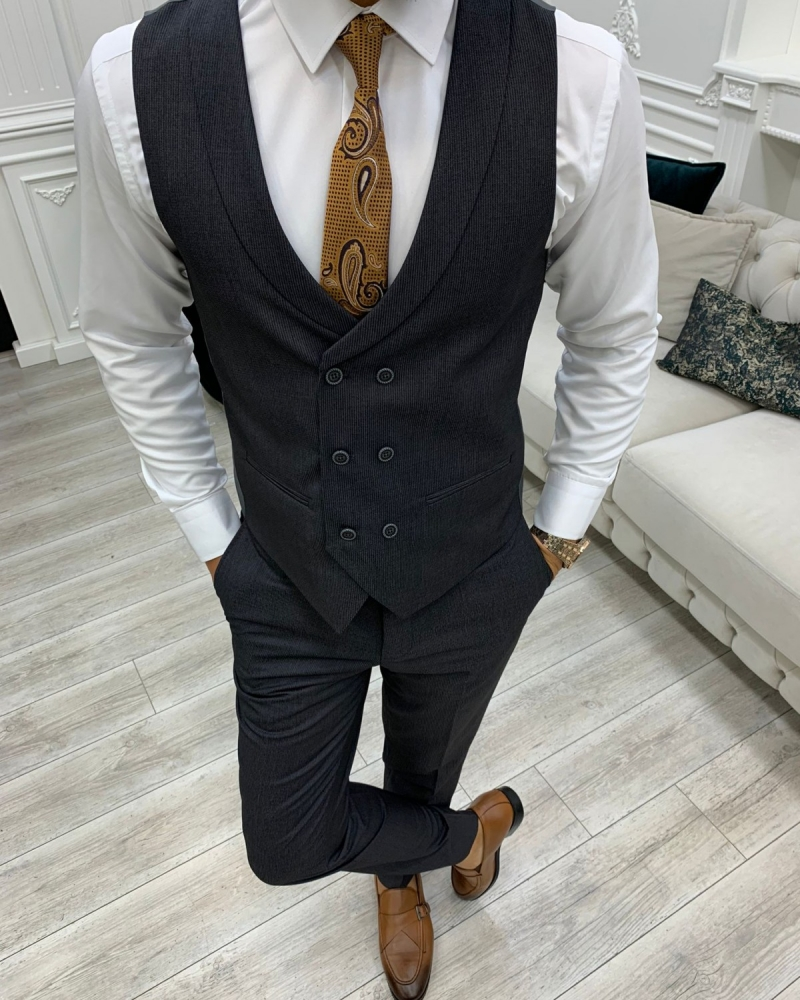 Dark Gray Slim Fit Peak Lapel Suit for Men by GentWith.com with Free Worldwide Shipping