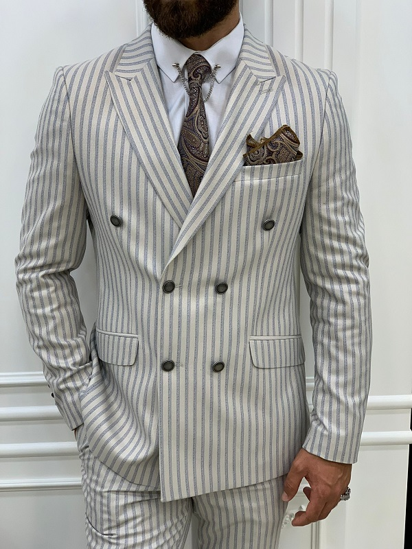 Beige Slim Fit Peak Lapel Double Breasted Striped Suit for Men by GentWith.com with Free Worldwide Shipping