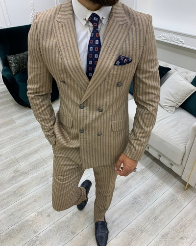 Brown Slim Fit Peak Lapel Double Breasted Striped Suit for Men by GentWith.com with Free Worldwide Shipping