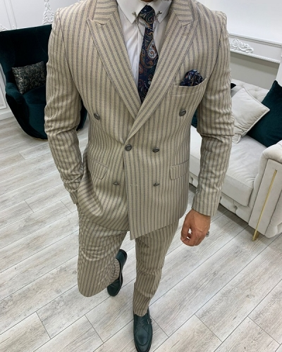Cream Slim Fit Peak Lapel Double Breasted Striped Suit for Men by GentWith.com with Free Worldwide Shipping