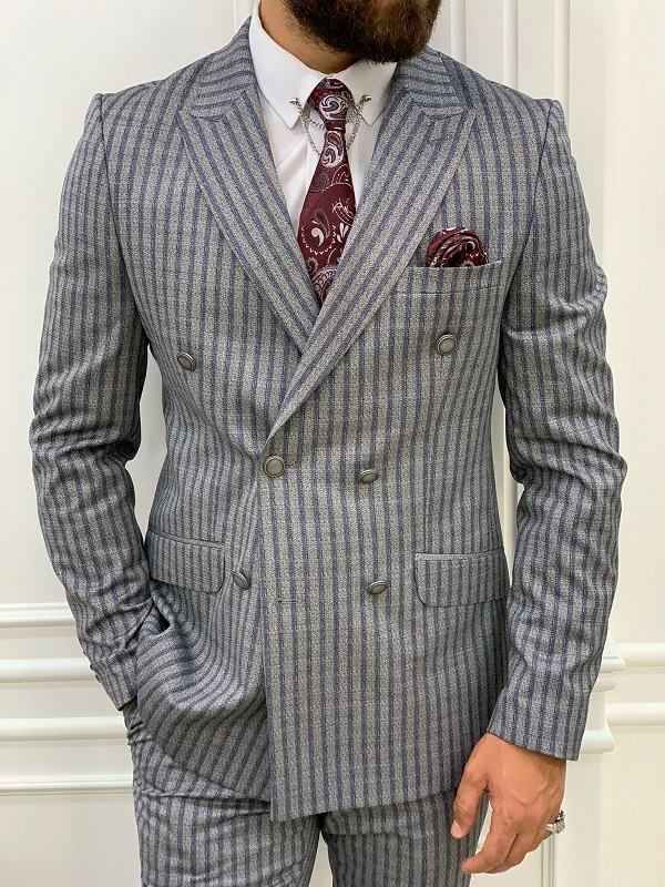 Navy Blue Slim Fit Peak Lapel Double Breasted Striped Suit for Men by GentWith.com with Free Worldwide Shipping