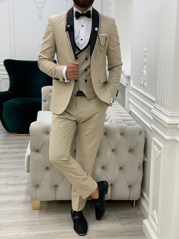 Beige Slim Fit Shawl Lapel Tuxedo for Men by GentWith.com with Free Worldwide Shipping
