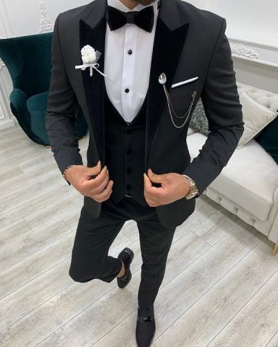 Black Slim Fit Velvet Peak Lapel Tuxedo for Men by GentWith.com with Free Worldwide Shipping