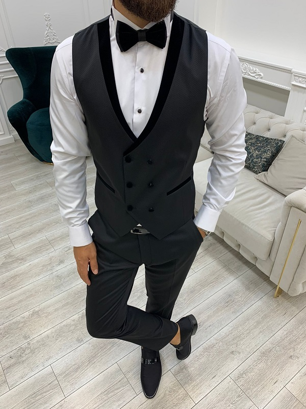 Black Slim Fit Velvet Shawl Button Lapel Tuxedo for Men by GentWith.com with Free Worldwide Shipping