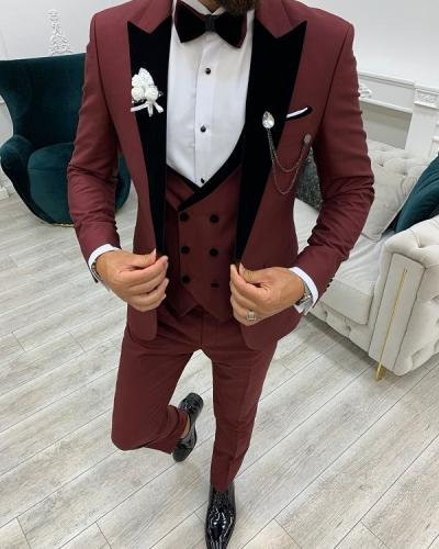 Burgundy Slim Fit Velvet Peak Lapel Tuxedo for Men by GentWith.com with Free Worldwide Shipping