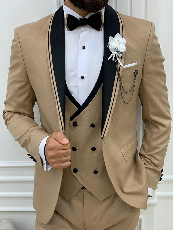 Gold Slim Fit Shawl Lapel Tuxedo for Men by GentWith.com with Free Worldwide Shipping