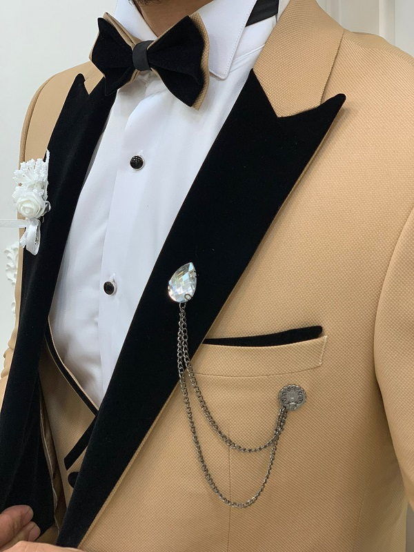Gold Slim Fit Velvet Peak Lapel Tuxedo for Men by GentWith.com with Free Worldwide Shipping