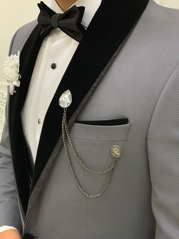 Gray Slim Fit Velvet Shawl Lapel Tuxedo for Men by GentWith.com with Free Worldwide Shipping