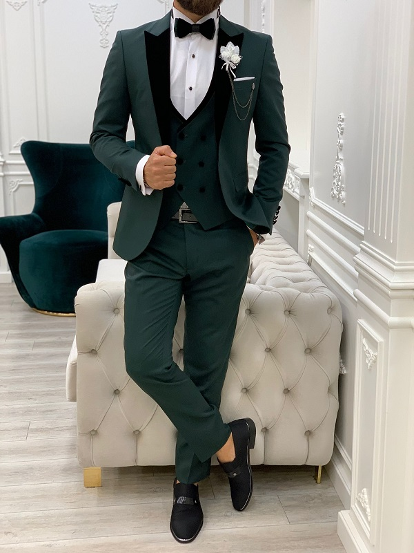 Green Slim Fit Velvet Peak Lapel Tuxedo for Men by GentWith.com with Free Worldwide Shipping