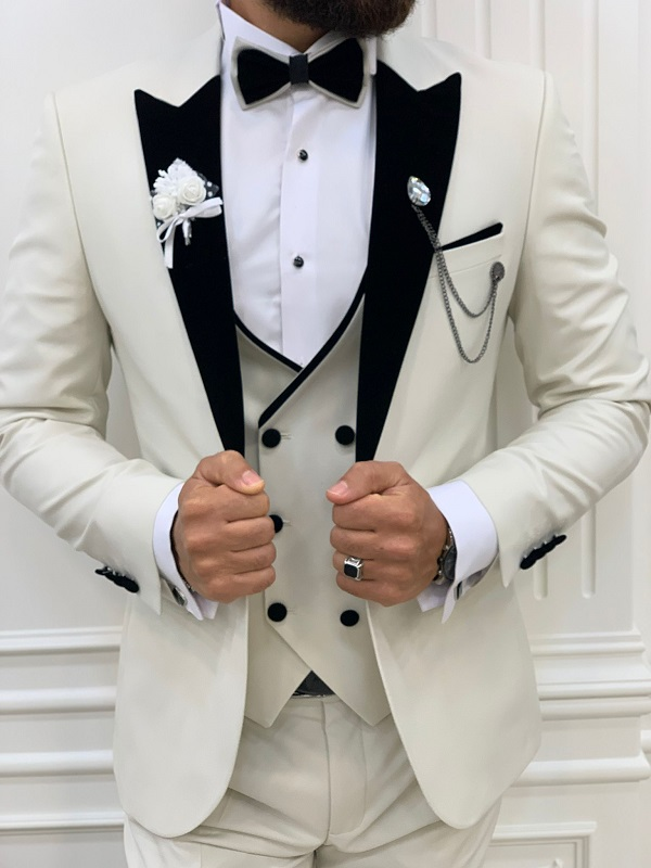 Off White Slim Fit Velvet Peak Lapel Tuxedo for Men by GentWith.com with Free Worldwide Shipping