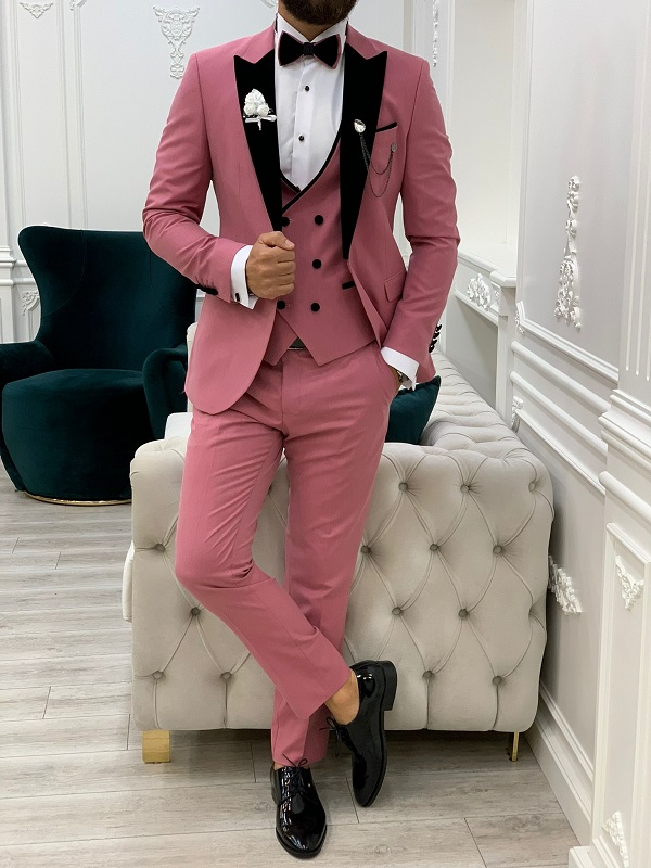 Pink Slim Fit Velvet Peak Lapel Tuxedo for Men by GentWith.com with Free Worldwide Shipping