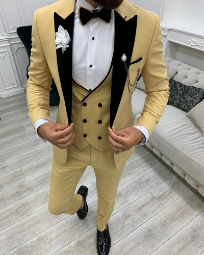 Yellow Slim Fit Velvet Peak Lapel Tuxedo for Men by GentWith.com with Free Worldwide Shipping
