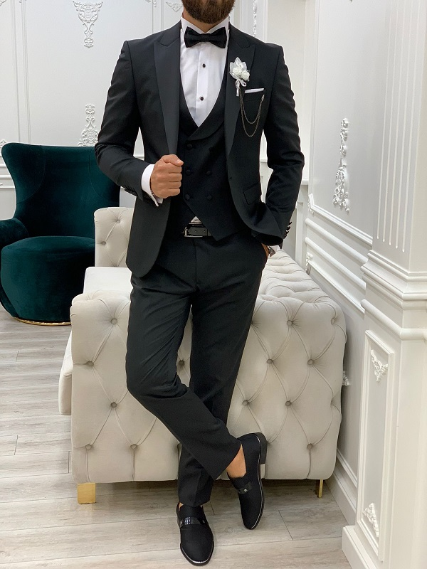 Black Slim Fit Peak Lapel Tuxedo for Men by GentWith.com with Free Worldwide Shipping