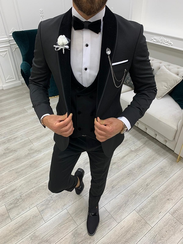 Black Slim Fit Velvet Shawl Lapel Tuxedo for Men by GentWith.com with Free Worldwide Shipping