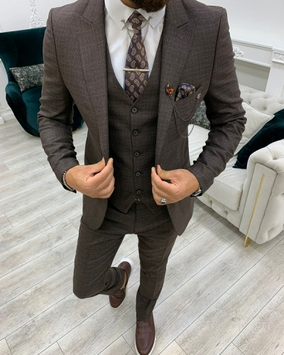 Brown Slim Fit Peak Lapel Suit for Men by GentWith.com with Free Worldwide Shipping