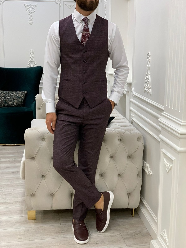 Burgundy Slim Fit Peak Lapel Suit for Men by GentWith.com with Free Worldwide Shipping