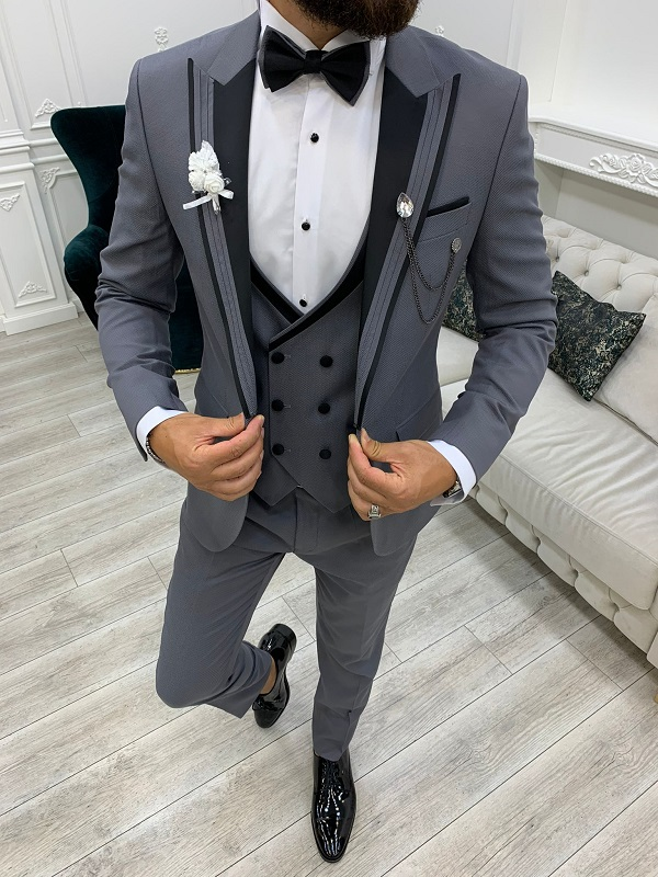 Gray Slim Fit Peak Lapel Tuxedo for Men by GentWith.com with Free Worldwide Shipping