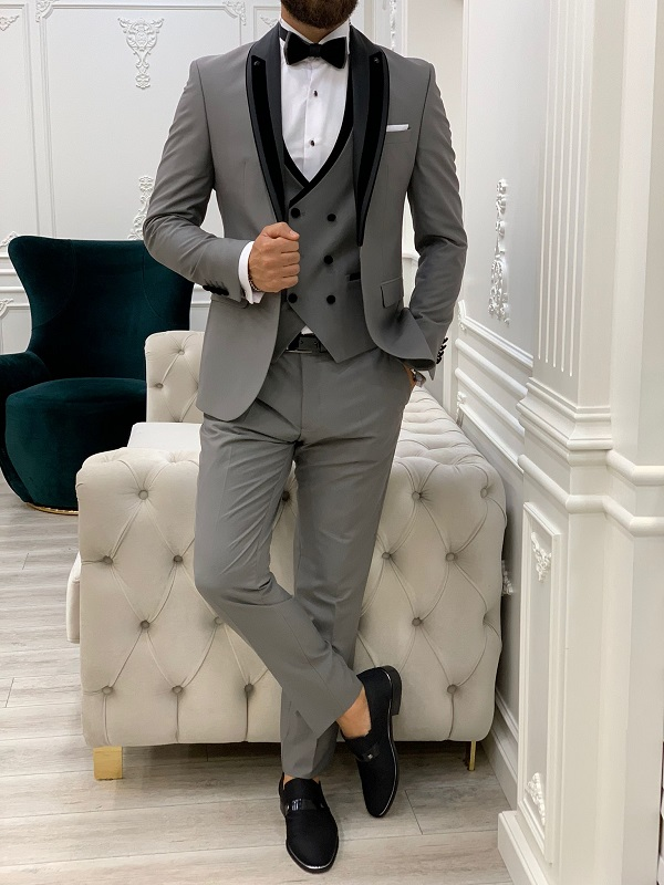 Gray Slim Fit Shawl Lapel Tuxedo for Men by GentWith.com with Free Worldwide Shipping