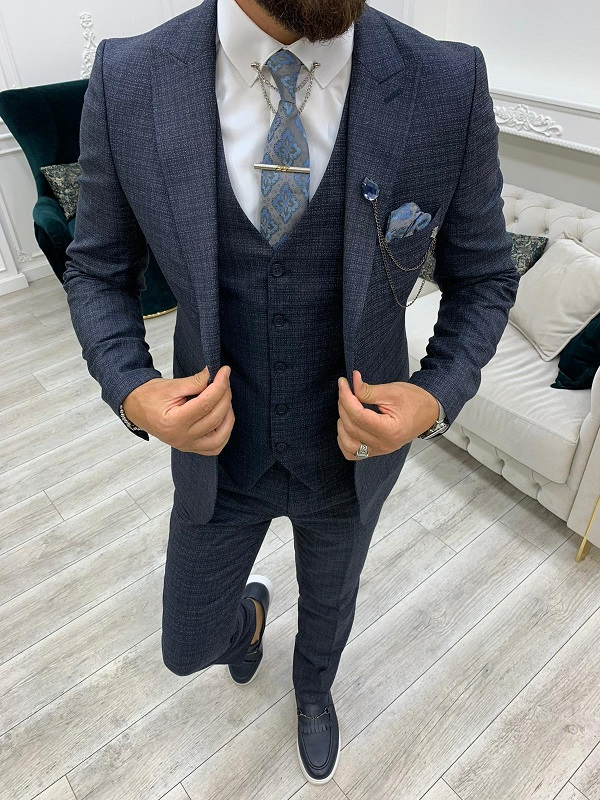 Navy Blue Slim Fit Peak Lapel Suit for Men by GentWith.com with Free Worldwide Shipping