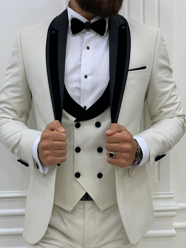Off White Slim Fit Shawl Lapel Tuxedo for Men by GentWith.com with Free Worldwide Shipping