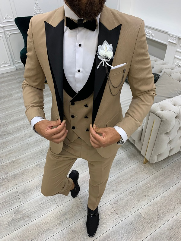 Golden Slim Fit Velvet Peak Lapel Tuxedo for Men by GentWith.com with Free Worldwide Shipping