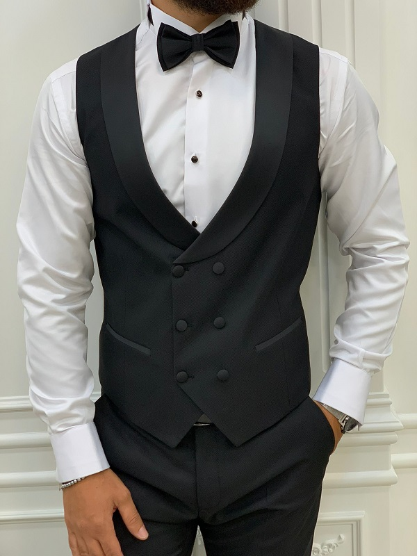 Black Slim Fit Shawl Lapel Tuxedo for Men by GentWith.com with Free Worldwide Shipping