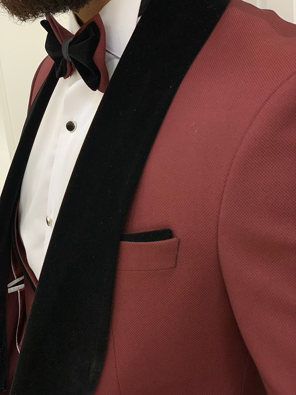Burgundy Slim Fit Velvet Shawl Lapel Tuxedo for Men by GentWith.com with Free Worldwide Shipping