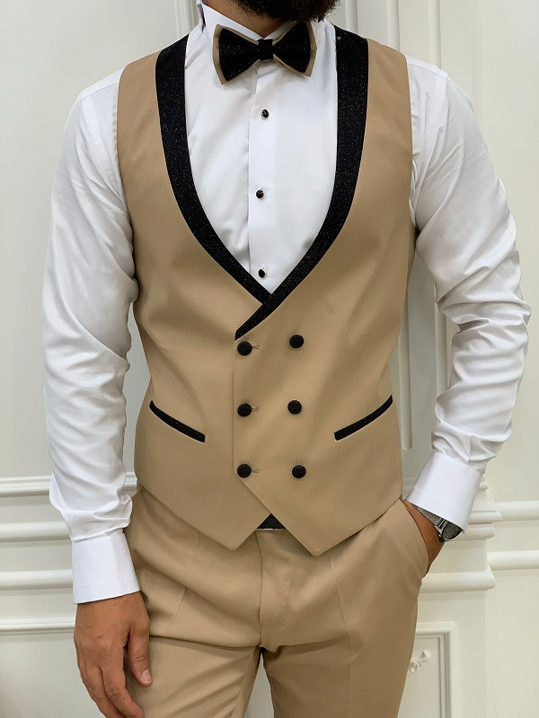 Gold Slim Fit Peak Lapel Tuxedo for Men by GentWith.com with Free Worldwide Shipping