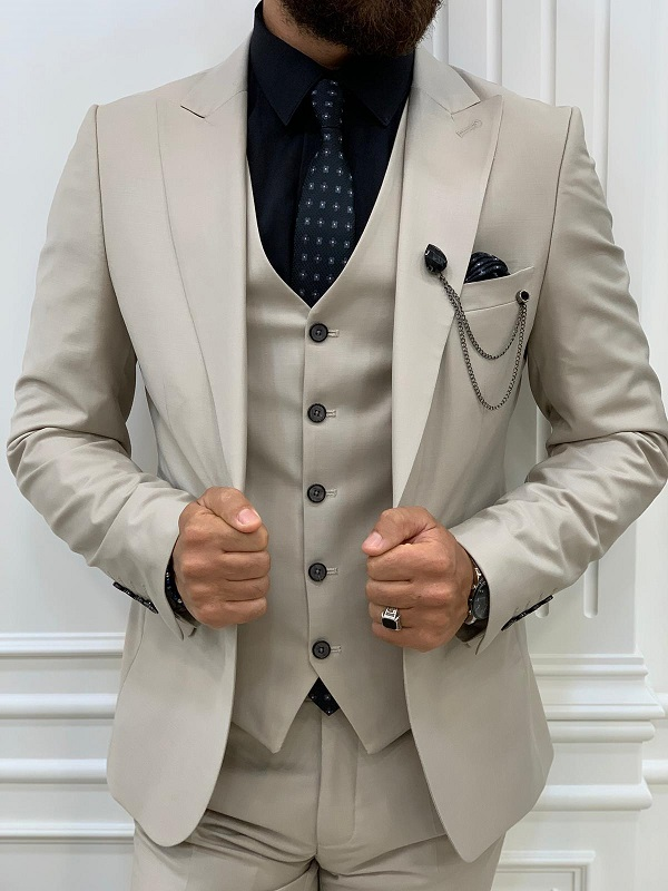 Beige Slim Fit Peak Lapel Suit for Men by GentWith.com with Free Worldwide Shipping