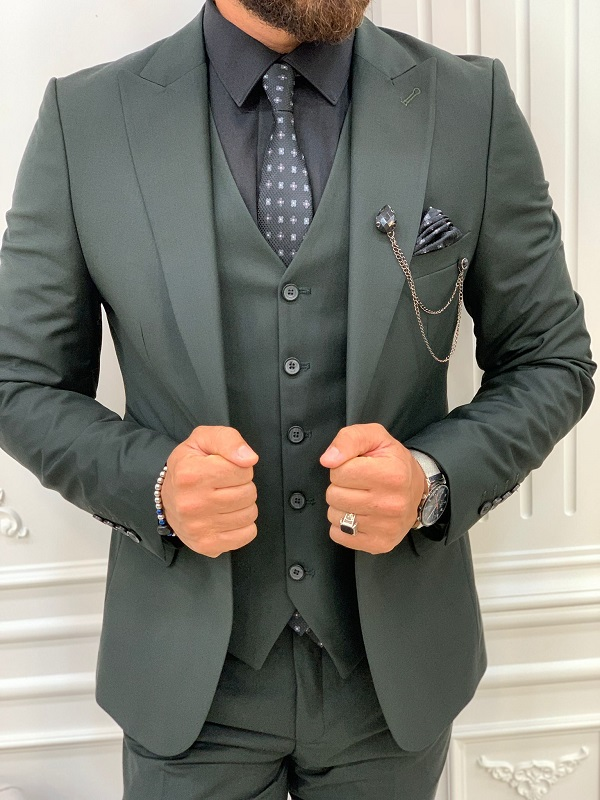 Green Slim Fit Peak Lapel Suit for Men by GentWith.com with Free Worldwide Shipping