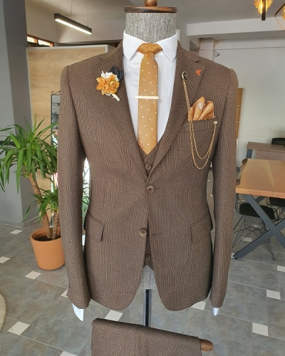 Brown Slim Fit Notch Lapel Wool Suit for Men by GentWith.com with Free Worldwide Shipping