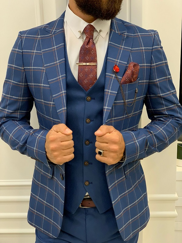 Blue Slim Fit Peak Lapel Plaid Suit for Men by GentWith.com with Free Worldwide Shipping