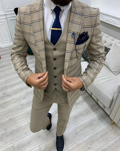Cream Slim Fit Peak Lapel Plaid Suit for Men by GentWith.com with Free Worldwide Shipping