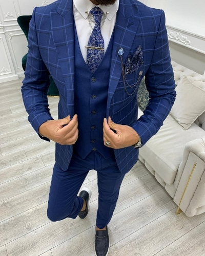 Indigo Slim Fit Peak Lapel Plaid Suit for Men by GentWith.com with Free Worldwide Shipping