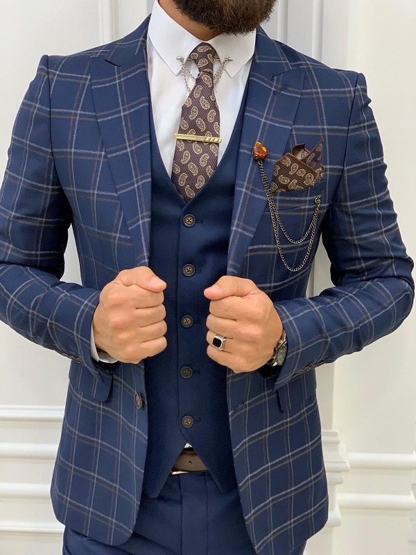 Navy Blue Slim Fit Peak Lapel Plaid Suit for Men by GentWith.com with Free Worldwide Shipping