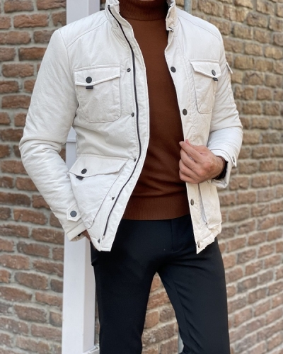 Beige Slim Fit Cotton Jacket for Men by GentWith.com with Free Worldwide Shipping