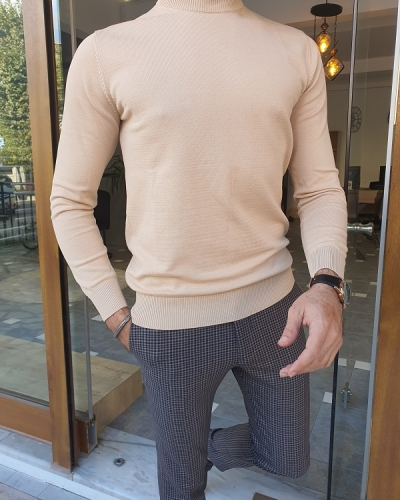 Beige Slim Fit Mock Turtleneck Sweater for Men by GentWith.com with Free Worldwide Shipping