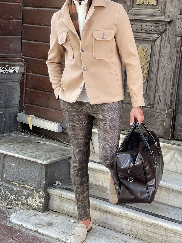 Beige Slim Fit Single Breasted Coat for Men by GentWith.com with Free Worldwide Shipping