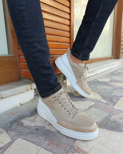 Beige Suede Mid-Top Sneakers for Men by GentWith.com with Free Worldwide Shipping