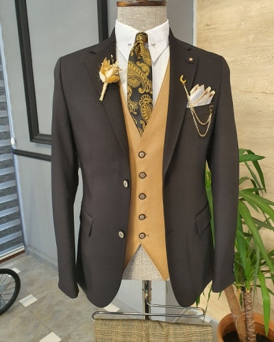 Black Beige Slim Fit Notch Lapel Linen Suit for Men by GentWith.com with Free Worldwide Shipping