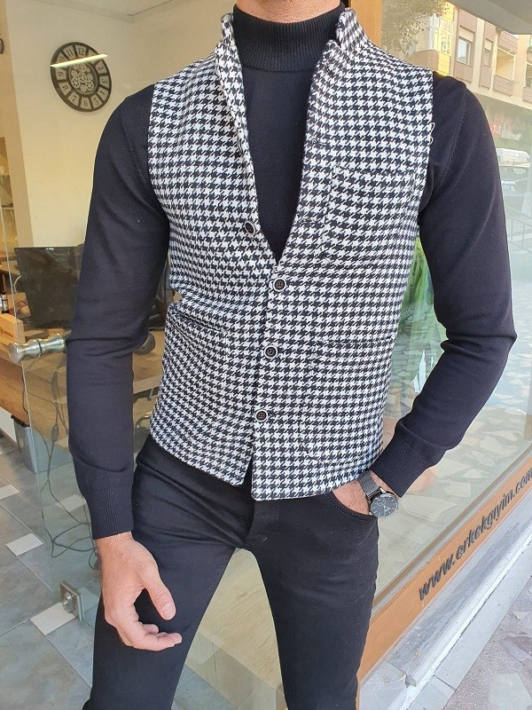 Black Slim Fit Cotton Vest for Men by GentWith.com with Free Worldwide Shipping