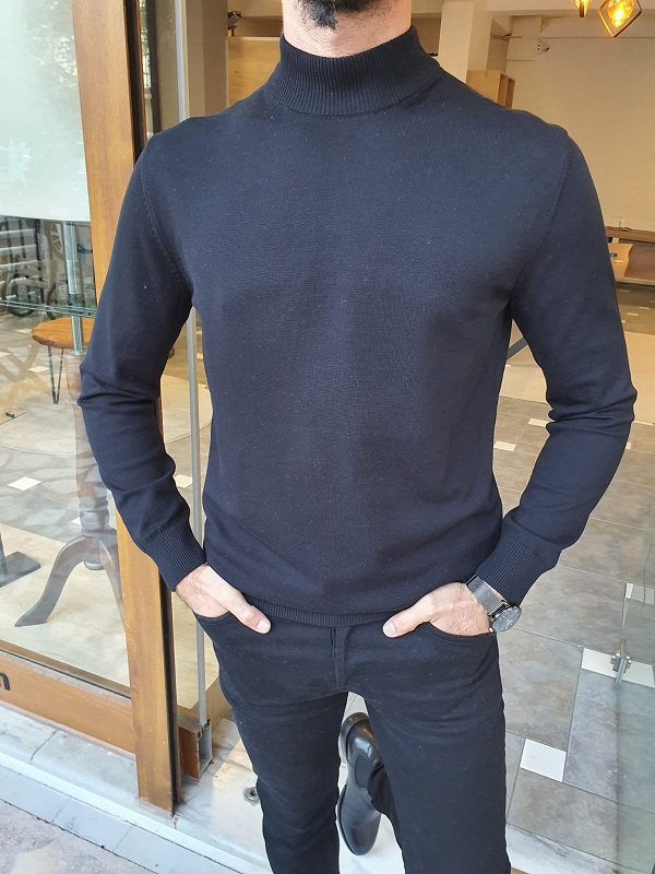 Black Slim Fit Mock Turtleneck Sweater for Men by GentWith.com with Free Worldwide Shipping